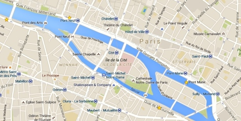 Stars indicate bouquiniste location areas. Map made using Google Maps.